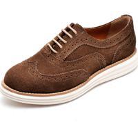 Sapato Oxford Q&A 300 Couro Camurça Rato