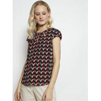 Blusa Geomã©Trica Com Recortes- Cinza & Vermelha- Milmiliore