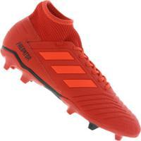 Chuteira De Campo Adidas Predator 19.3 Fg - Adulto - Vermelho Preto a9431a0b99f34
