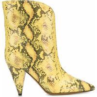 Isabel Marant Bota Leinee Com Estampa Pele De Cobra - Amarelo
