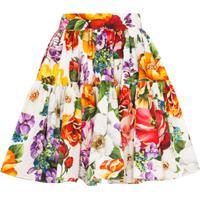 Dolce & Gabbana Minissaia Com Pregas E Estampa Floral - Vermelho