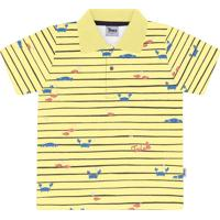 Camisa Polo Trick Gola Estampa De Carangueijo Amarelo