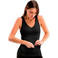 Cinta Camiseta Modeladora Redutora Slim Comfy Preta