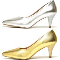 Kit 2 Pares De Scarpin Casual Salto Baixo Metalizado Ellas Online Dourado