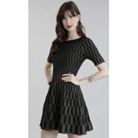 Vestido Gig Couture Em Jacquard De Tricô Geométrico Com Lurex Preto