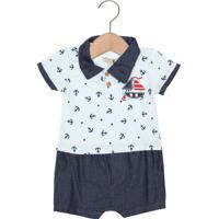 Macacão Kiko Baby Curto Baby Menino Azul
