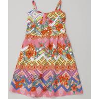 Vestido Infantil Estampado Étnico Com Nó Alças Finas Rosa