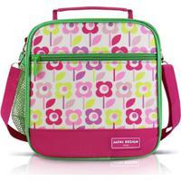 Lancheira Térmica Infantil Jacki Design Flor Microfibra Feminina - Feminino-Pink+Verde