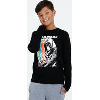 Camiseta Juvenil Star Wars Manga Longa Disney