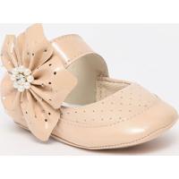 Sapato Boneca Com Microfuros & Flor - Nude- Ticco Batico Baby