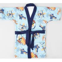 Roupão Infantil Mickey Estampado Atoalhado Manga Curta Azul Claro