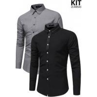 Kit 2 Camisas Slim Fit Forro Quadriculado - Cinza E Preta