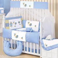 Kit Berço Padroeira Baby Passarinhos Azul
