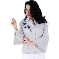 Camisa Casual Com Bordado Feminina Facinelli - Preto