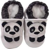 Pantufa Catz Calçados Infantil Couro Nicky Panda - Unissex-Preto+Branco
