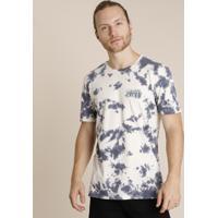 "Camiseta Masculina ""Creative Mind"" Estampada Tie Dye Manga Curta Gola Careca Off White"