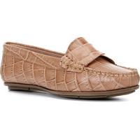 Mocassim Couro Shoestock Croco Gravata Torcida Feminino - Feminino-Nude