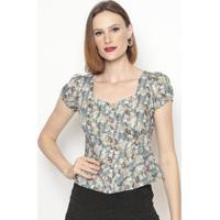 Blusa Floral Com Recortes- Cinza & Verde- Vip Reservvip Reserva
