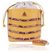 Bolsa Saco Campezzo Couro Amarelo E Snake Mondrian