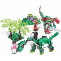 Blocos De Encaixe Xalingo Dino Saga Safari De Exploração Dinossauros 272 Peças 6510 Verde