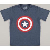 Camiseta Juvenil Capitão América Manga Curta Gola Careca Azul