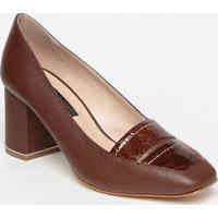 Sapato Em Couro Com Recortes - Marrom Escuro- Salto:Jorge Bischoff