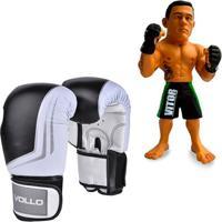 Kit Luva De Boxe Muay Thai Vollo Vfg201 Preta 14Oz - Unissex