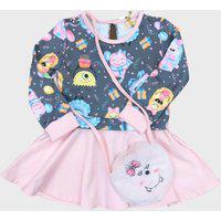 Vestido Infantil Le Petit Kukiê Monstrinhos C/ Bolsa