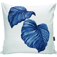Capa Para Almofada Impermeável Folhas- Branca & Azulstm Home