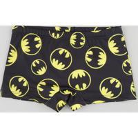 Sunga Boxer Infantil Batman Com Proteção Uv50+ Preta