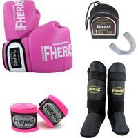 Kit Boxe Muay Thai Oríon - Luva Bandagem Bucal Caneleira – 14 Oz Rosa/Branco