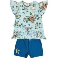 Conjunto Infantil Marisol Feminino - Feminino-Azul