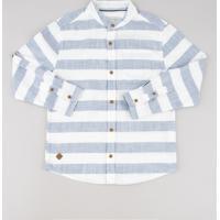 ae2efc48c6c48 CEA; Camisa Infantil Listrada Manga Longa Gola Padre Off White