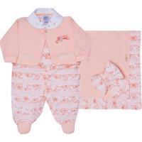 Saída Maternidade Peach Floral 2 Peças - Sonho Mágico - Unissex