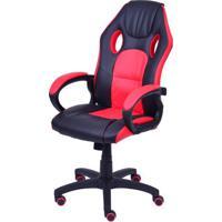 Cadeira Office Racer V16 Preta Com Detalhe Vermelha Base Nylon - 43117 - Sun House