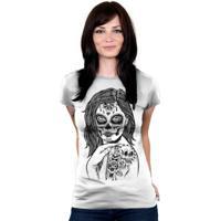 Camiseta Baby Look Hshop Skull Girl Branco