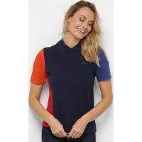 Camisa Polo Lacoste Botões Costas Feminina - Feminino-Marinho+Vermelho