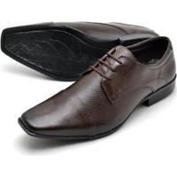3095f1619 ... Sapato Social Couro Reta Oposta Bico Quadrado Masculino - Masculino -Marrom
