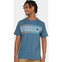 Camiseta Hd Long Stripe Masculina - Masculino-Azul Petróleo