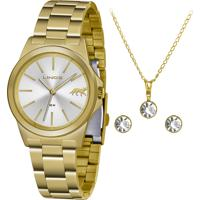 Kit Relógio Analógico Lince Feminino + Colar Com Brincos - Lrgh125L Kx23S1Kx Dourado