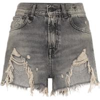 R13 Shredded Ripped Hem Denim Shorts - Preto