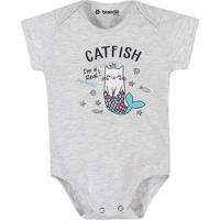 """Body """"Catfish"""" Manga Curta- Cinza Claro & Azul Clarobrandili"""