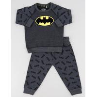 Conjunto Infantil Batman De Blusão Raglan + Calça Estampada Em Moletom Cinza Mescla Escuro
