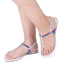 Sandália Rasteira Mercedita Shoes Metalizada Prata Tiras Coloridas Ultra Conforto