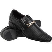 Sapato Social Texturas Conforto Macio Leve Verniz Masculino - Masculino