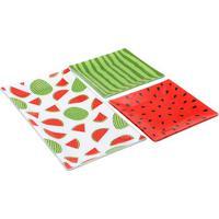 Conjunto De Petisqueiras Melancia- Verde & Vermelho-Decor Glass