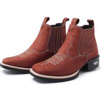 Bota Pessoni Boots & Shoes Botina Texana Pessoni Boots Couro Cano Curto Marrom