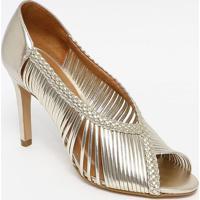 Peep Toe Metalizado Com Tiras- Dourado- Salto: 9Cmferrucci