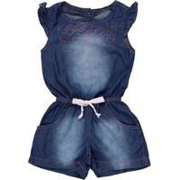 Macacão Jeans Infantil Pra Menina - Azul