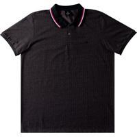 Camiseta Masculina Polo Com Bordado Preto